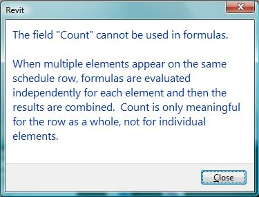 """Why Can't I Use the """"Count"""" Parameter in my Schedule Formulas"""